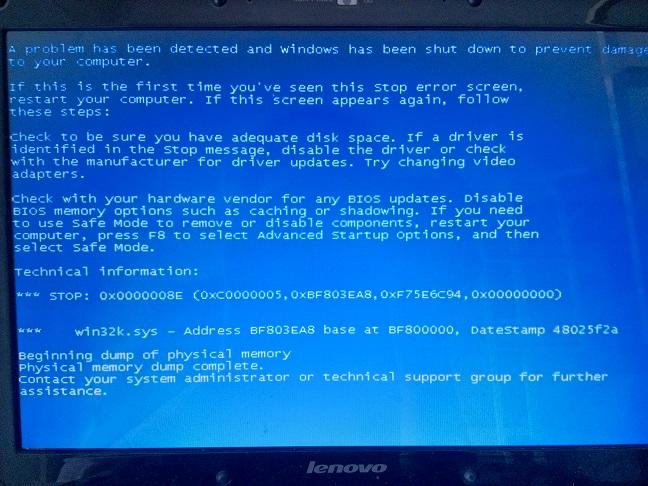 联想笔记本 ideapad y330  蓝屏